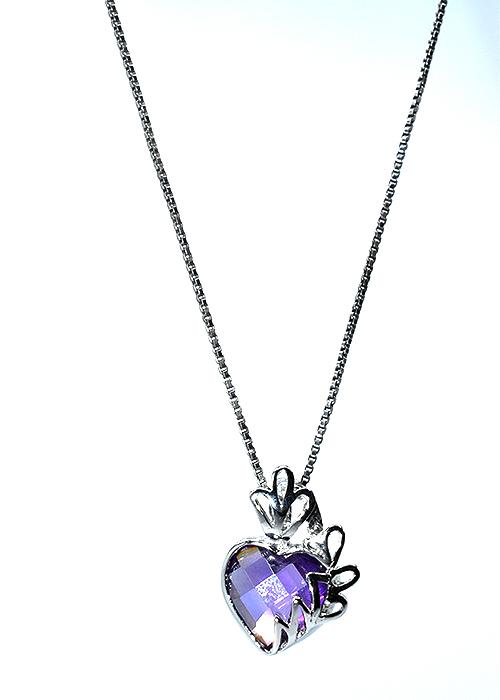 Κολιέ ασήμι 925 καρδιά με πέτρα ζιργκόν μωβ 523d94fb4e1