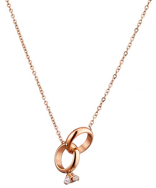 Κολιέ ατσάλι 316L σε ροζ χρυσό μονόπετρο με πέτρα ζιργκόν 6897fae7db7