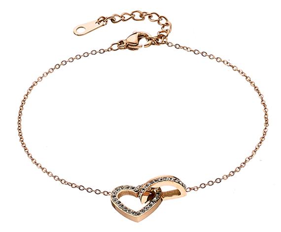 Βραχιόλι ατσάλι 316L σε ρόζ χρυσό καρδιά με πέτρες Swarovski 70077d8738c