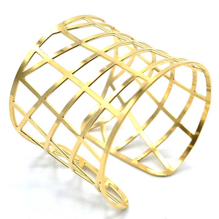 Βραχιόλι ατσάλι 316L φαρδυ χρυσο 227141efdb0