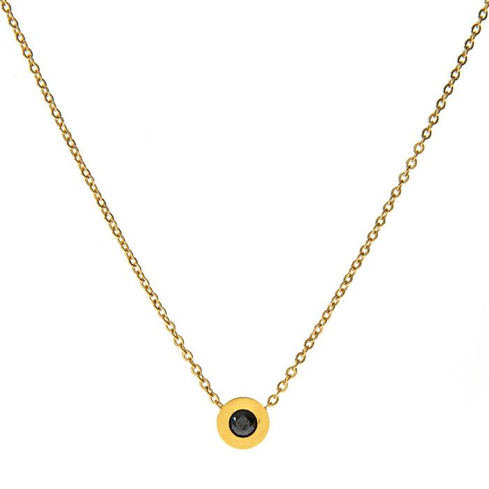 Κολιε ατσαλι 316L σε χρυσο με μαυρη πετρα 13cc37e5202