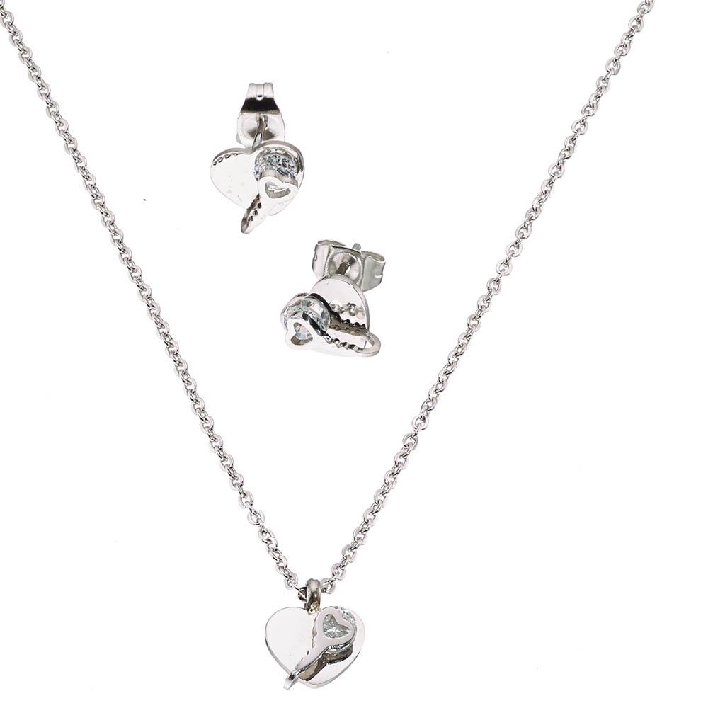 Σετ κολιε με σκουλαρικια σε ασημι με ζιργκον καρδια d344b4dafdb