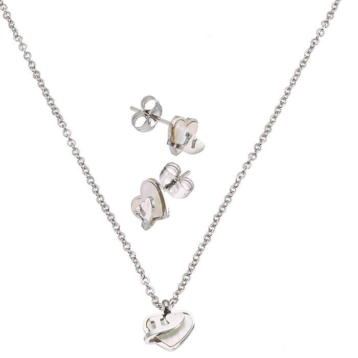 Σετ κολιε με σκουλαρικια σε ασημι με πετρα φυλντισι καρδια 35132a9b7e1