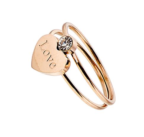 Δαχτυλίδι ατσάλι 316L σε ροζ χρυσό διπλο με πετρα ζιργκον και καρδια d3cef63bcd7