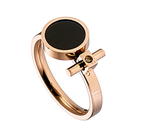Δαχτυλίδι ατσάλι 316L σε ροζ χρυσό με μαυρο και πετρα ζιργκον ca9ba6a82e6