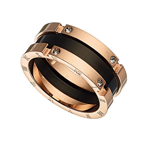 Δαχτυλίδι ατσάλι 316L σε ροζ χρυσό με μαυρο και πετρα ζιργκον 61b78a409b3