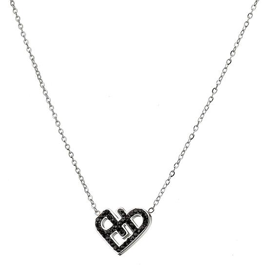 Κολιέ ατσάλι 316L σε ασημί καρδιά με πέτρες Swarovskι 6c994202a94