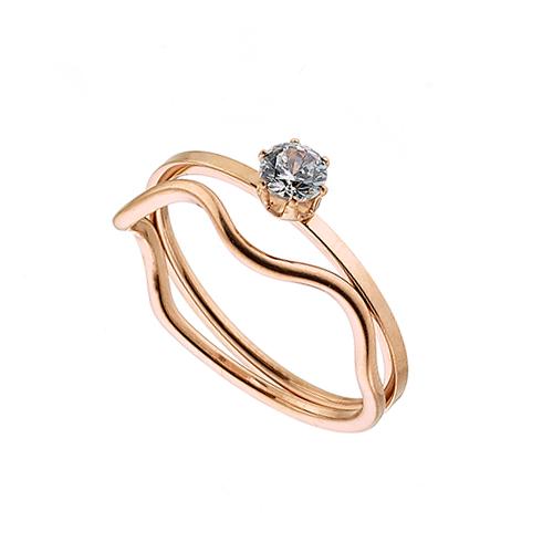 Δαχτυλίδι ατσάλι 316L σε ροζ χρυσό μονόπετρο διπλό με πέτρα ζιργκόν 346c4e5a4b6