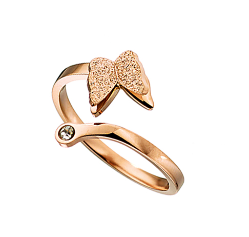 Δαχτυλίδι ατσάλι 316L σε ροζ χρυσό πεταλούδα με πετρα ζιργκον be5547149ae
