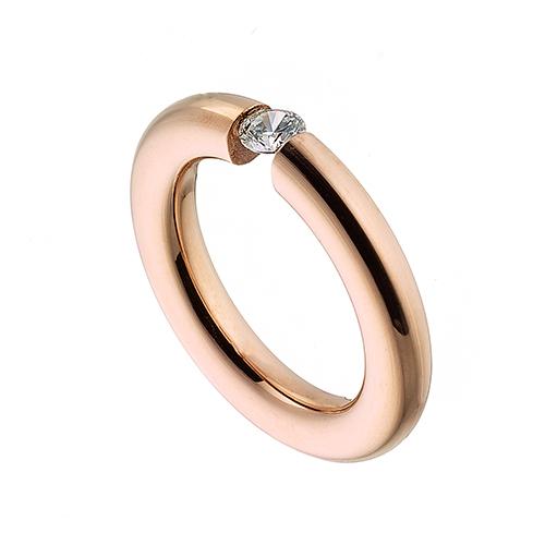 Δαχτυλίδι ατσάλι 316L σε ροζ χρυσό μονόπετρο με λευκή πέτρα ζιργκόν 4045994be52