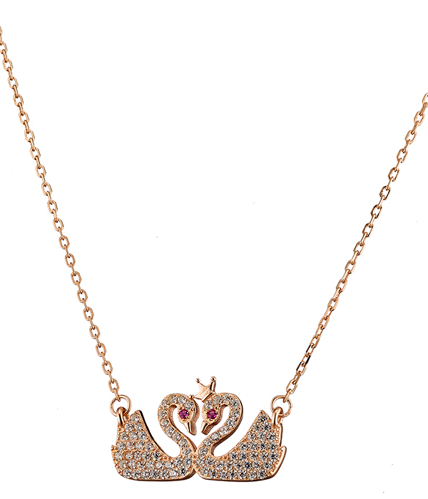Κολιέ ασήμι 925 σε ροζ χρυσό διπλός κύκνος με πέτρες ζιργκόν 766b08b4885
