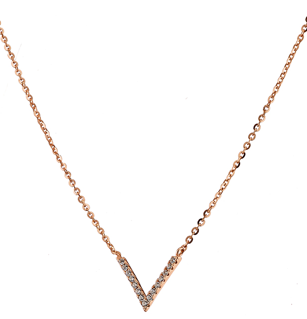 Κολιέ ασήμι 925 σε ροζ χρυσό σε σχήμα V με πέτρες ζιργκόν 97d43d80d66