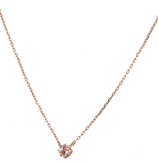 Κολιέ ασήμι 925 σε ροζ χρυσό μονόπετρο με πέτρα swarovski ef3a94ece63
