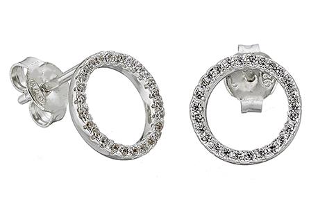 44f549fee6 Σκουλαρίκι ασήμι 925 επιπλατινωμένο κύκλος με πέτρες ζιργκόν