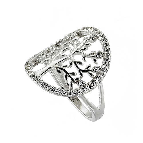 Δαχτυλίδι ασημένιο 925 επιπλατινωμένο σε ασημί με το δέντρο της ζωής και πέτρες  ζιργκόν 563cf633150