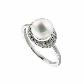 Δαχτυλίδι ασημένιο 925 επιπλατινωμένο σε ασημί με πέρλα και πέτρες ζιργκόν 790ff705747