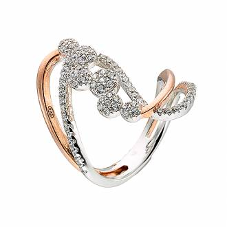 Δαχτυλίδι ασημένιο 925 επιπλατινωμένο σε ασημί και ροζ χρυσό με πέτρες  ζιργκόν 1d7f22a485d